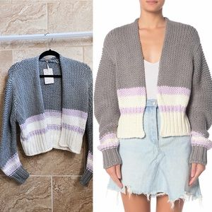 ✨New FREE PEOPLE Glow For It Cropped Knit Cardigan